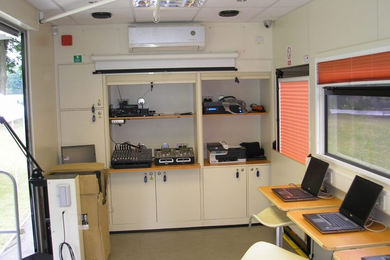 Event trailer with interior audio equipment and Computer set up