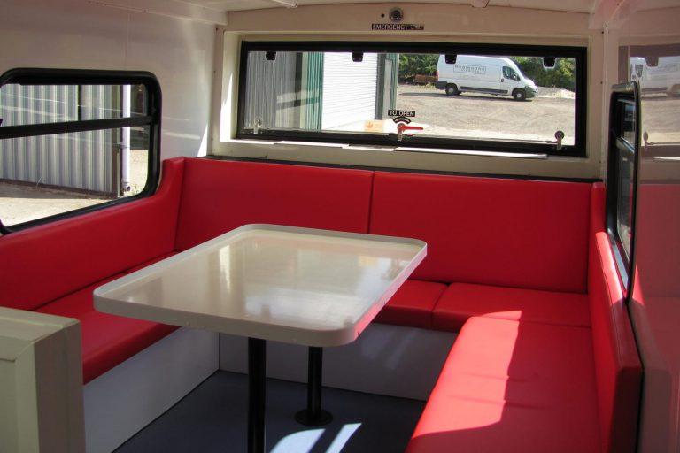 Hospitality vehicle table interior