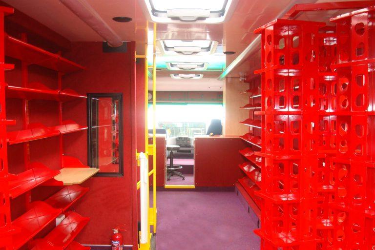 Mobile library, empty shelves