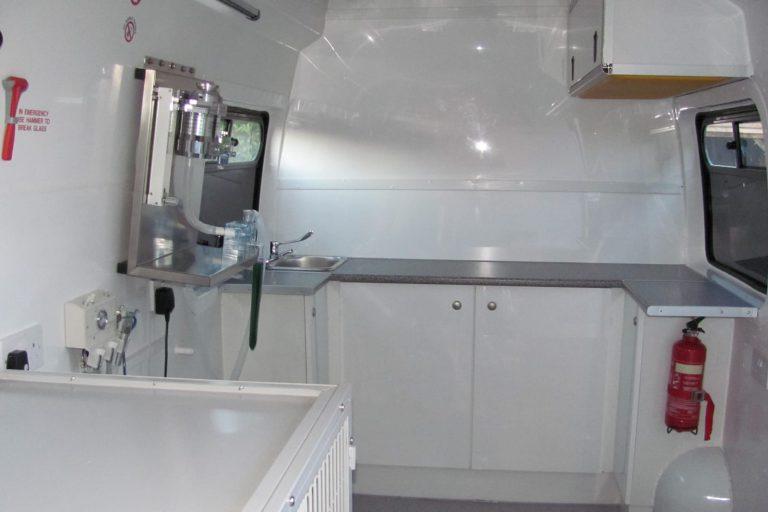 Veterinary surgery van interior