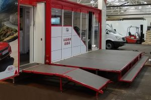 hinge down platform on new build trailer in factory