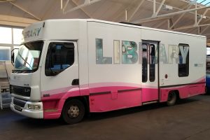 mobile library in workshop