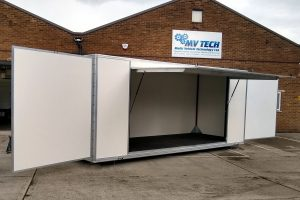 6 metre demountable pod with open frontage and swing out display panels for exhibition purposes