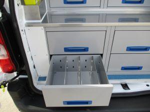 medicine and equipment storage drawers in an Animedix animal welfare vehicle