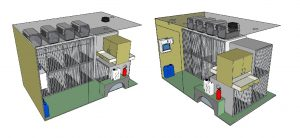 two drawings to show the interior of the Animedix inter-citi dog van