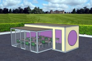artistic impression of a single building with a single glazed extension to increase floor space