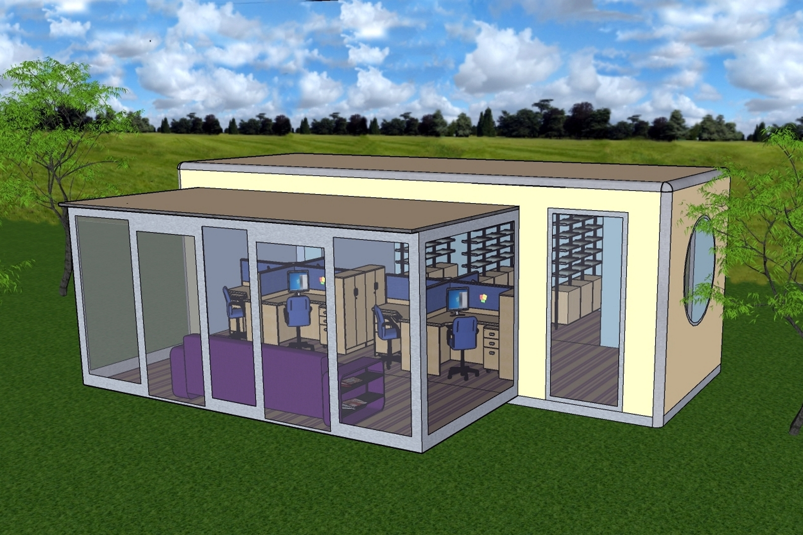 artists impression of a portable building with double extension
