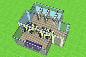 plan view of a portable building with two extensions and fitted out with office furniture