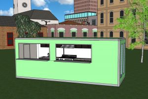 a portable building fitted out as a relocatable kitchen