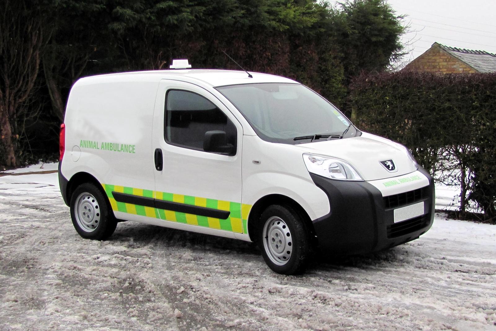 small peugeot van used as an animal ambulance