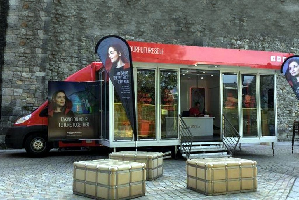 5.5 metre exhibition vehicle with a glazed extension welcoming to visitors